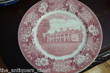 """Historical plate Adams and sons Staffordshire England """"Mount Vernon"""" red transf"""