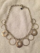 SILPADA N1325 Hammered Circles Rings 925 Sterling Silver  Necklace Rolo Chain
