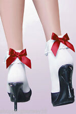 Sexy and Girly Ruffle & Red Bow Ankle Socks - Rockabilly or Nurse Maid