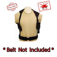 Tactical Cross Draw Shoulder Holster Vest Pistol Gun Double Mag Pouch Carry Hold
