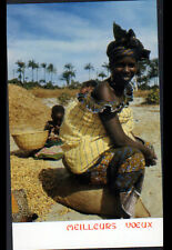 ETHNIQUE (AFRIQUE) FEMME avec BEBE & ENFANT au TRI des GRAINES / VOEUX