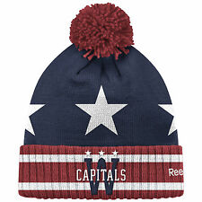 WASHINGTON CAPITALS 2015 NHL WINTER CLASSIC REEBOK CUFFED GOALIE POM KNIT HAT