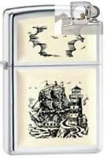 Zippo 359 scrimshaw ship scene Lighter with PIPE INSERT PL