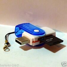 USB 2.0 SD Micro TF SDHC MS All in 1 Blue Card Reader with a Key Ring Strap