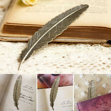 2PCS Useful Special Magazine Copper Bookmarks Accessories Feather Design