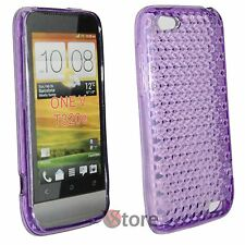 Cover Custodia Per HTC ONE V Viola Diamond Silicone Gel + Pellicola Display