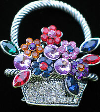 SILVER RHINESTONE SPRING MOTHER'S DAY EASTER BOUQUET FLOWER BASKET PIN BROOCH 2""