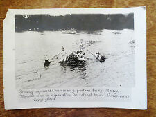 1910s WWI German Engineers Soldiers Pontoon River Bridge Americans Photograph