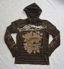 Ed Hardy by Christian Audigier Logo Brown Hooded Shirt - Size L (Juniors)
