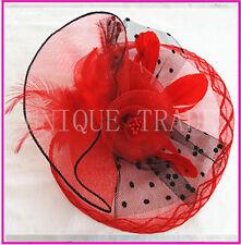 3 Colors Elegant Lady Fascinators Feather Hat with Clip