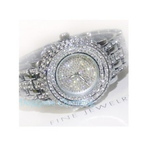 Double Row Crystal Bling Watch Stainless  Silver Quartz Analog water resistant