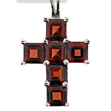 925 Sterling Silver 3.00 ct Garnet Cross Pendant Womens Necklace 18 Inches
