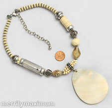 Chico's Signed Silver Tone Necklace Ivory Color Big Mother Pearl Shell Pendant