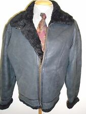 "Vintage B3 Real Shearling Sheepskin Bomber Aviator Leather Jacket M 38"" Euro 48"