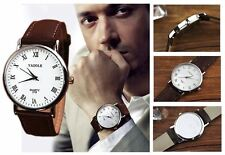 Men's White Dial Contemporary Analogue Quartz Watch with Grained Leather Strap