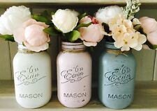 3 SHABBY CHIC PAINTED MASON JARS 1LITRE, VASE, WEDDINGS, VINTAGE, FLOWERS