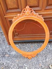 Large Antique Victorian Old Orange Paint Round Carved Wood Frame Shabby Chic