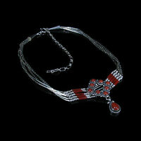 5 Strand .925 Liquid Sterling Silver Natural Red Coral Heshei Necklace