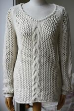 ACQUAVERDE ALPACA BLEND OPEN KNIT SWEATER MEDIUM