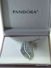 "NEW! AUTHENTIC PANDORA ""LIGHT AS A FEATHER"" PENDANT W 50CM CHAIN #390350CZ"