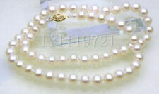 "Genuine 6mm AAA round white akoya pearl necklace 18"" 14k Gold Clsap"