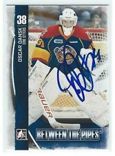 Oscar Dansk Signed 2013/14 Between The Pipes Card COLUMBUS BLUE JACKETS