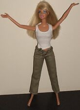 Barbie 1999 Mattel Doll Long Blond Layered Hair Fully Jointed In Combats & Top