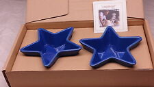 Longaberger Set of Two Woven Traditions Cornflower Blue Star Dishes Bowls - NEW