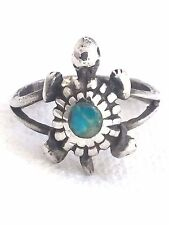 Vintage Sterling Silver Turquoise Chip Turtle Ring Size 6.5 4.2g Southwest Triba