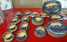 Enoch Woods England  45 Piece Set Blue Castles China Service for 8