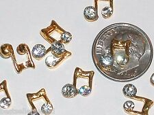2pc Miniature dollhouse tiny little crystal golden Music Note floating flat back
