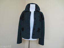ROCHAS WOOL BLEND DARK HUNTER GREEN WITH BLACK LEAF APPLIQUE JACKET COAT 40