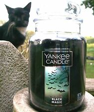 "Yankee Candle ""BLACK MAGIC"" Halloween~ Large 22 oz. ~ WHITE LABEL~ NEW!"