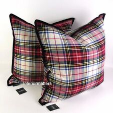 RALPH LAUREN TARTAN PLAID THROW TOSS PILLOW SET 2 pillows black red NEW