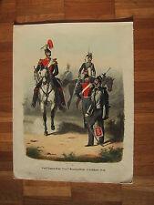 Garde Cuirassier org altkolorierte Lithographie ca. 1835 von F L Sachse 25x35 cm
