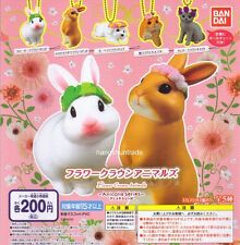 Bandai Anicolla Series Flower Crown Animals Rabbit Dog Cat Hamster Figure Set