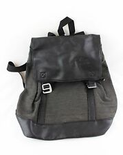 Black Leather Grey Back Pack Ruck Sack Boys Mens Casual Formal Wear New