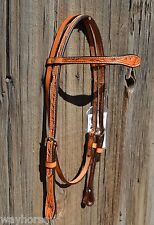 Buckaroo Hand Carved Floral Oak/Acorn Browband Headstall - Golden Light Oil