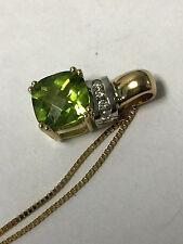 Beautiful Solid 14K Yellow Gold Peridot and Diamond Necklace Charm Pendant