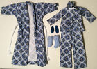 Blue Barbie Pjs Set Modern Outfit Handmade Doll Clothes Pajama Slipper Housecoat
