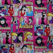 BonEful Fabric FQ Cotton Quilt Pink Purple Girl Teen ARCHIE Comic Book Character