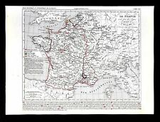 1849 Houze Map - France Louis XI 1461-1483 Paris Flanders Brittany Calais Comtat
