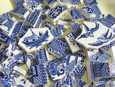 Broken China Mosaic Tiles - Pristine Blue Willow 124 mosaic tiles