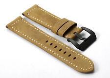 22mm Brown Genuine Leather Watch Band Black PVD Tang Buckle Strap For Panerai