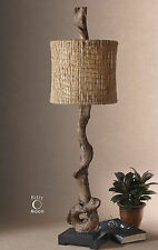 NEW BROWN WEATHERED DRIFTWOOD TABLE LAMP BLACK BASE NATURAL TWINE SHADE LIGHT