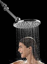 "Rainfall Shower Head 4 way Adjustable High Pressure 9"" Chrome Overhead Fixture"