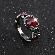 Vintage Round Red Ruby Wedding Band Ring Gift Women's Black Gold Plated Size5-11