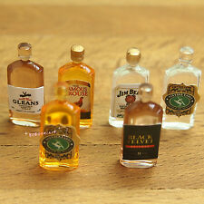 Dollhouse Miniature 1:12 Kitchen Dining Room Drink 6 Wine Bottles H1.9cm SPO269