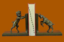 Hot Cast Satyr and Goat Erotic Mythical Bookends Book Ends Bronze Sculpture SALE