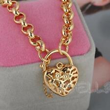 Chaîne Pendentif Coeur Sculpté En Or 18K Carats Bijoux Bracelet Main Pour Femme